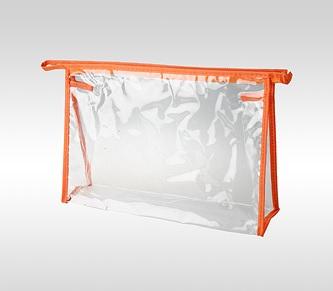 Косметичка ПВХ оранжевая горизонтальная 24 x 17 x 6 см