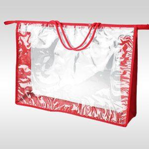 Большая красная косметичка ПВХ с ручками из шнура. Торцы и дно - красная ткань оксфорд 420