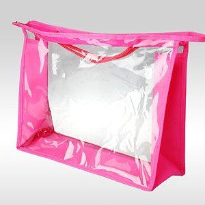 Большая розовая косметичка ПВХ. Ручки - шнур. Торцы и дно - ткань оксфорд