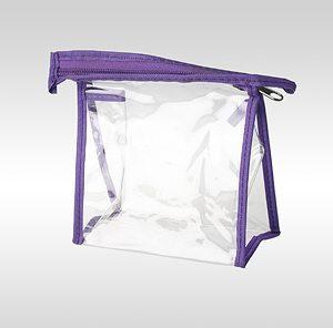 Косметичка ПВХ фиолетовая на молнии 13 x 13 x 6 см