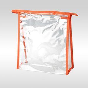 Косметичка ПВХ прозрачная оранжевая на молнии 19 17 6 см