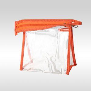 Прозрачная косметичка ПВХ на молнии оранжевая 13 x 13 x 6 см
