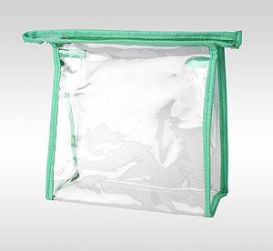Прозрачная косметичка из пленки ПВХ салатовая 13 x 13 x 6 см