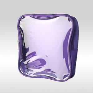 Большая фиолетовая косметичка-сумка с прозрачной передней стороной