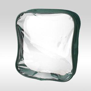 Зелёная прозрачная косметичка-сумка из ПВХ с кедером