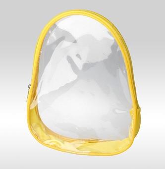 Прозрачная косметичка овальной формы, с кедером, жёлтого цвета.