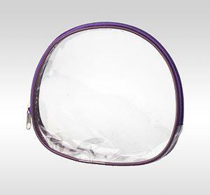 Маленькая овальная косметичка ПВХ с кедером. Обе стороны и дно - из прозрачной плёнки. Цвет кедера и молнии - фиолетовый