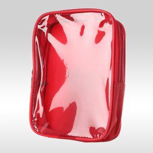 Косметичка-сумка с прозрачной фронтальной стороной из ПВХ красная