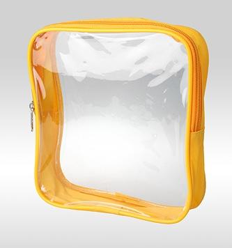 Прозрачная косметичка-сумка жёлтого цвета