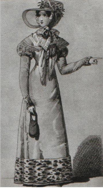 Гравюра с изображение женщины к косметичкой в руках