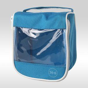 Голубая косметичка-аптечка с прозрачной стороной и логотипом 36.6