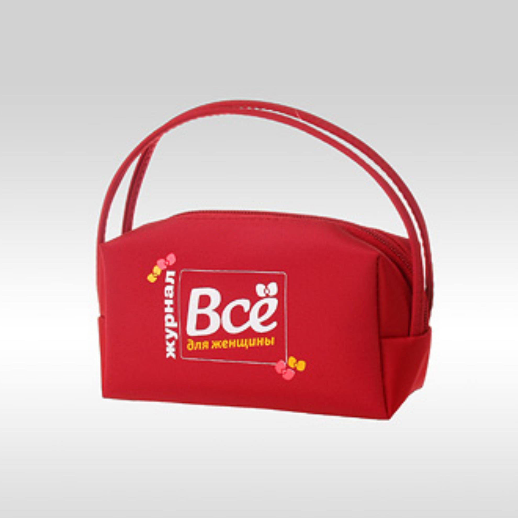 """Фото красной косметички с логотипом журнала """"Всё для женщины!"""