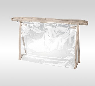 Прозрачная косметичка ПВХ на молнии с окантовкой из бежевой ткани. Размеры: 24 x 17 x 6 см