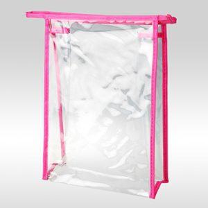 Косметичка ПВХ на молнии вертикальная розовая 24 x 17 x 6