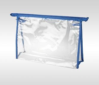 Косметичка ПВХ на молнии голубая горизонтальная 24 x 17 x 6 см
