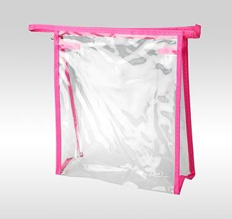 Косметичка ПВХ на молнии розовая 19 x 17 x 6 см