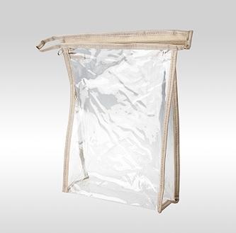 Косметичка ПВХ прозрачная вертикальная бежевая 24 x 17 x 6 см