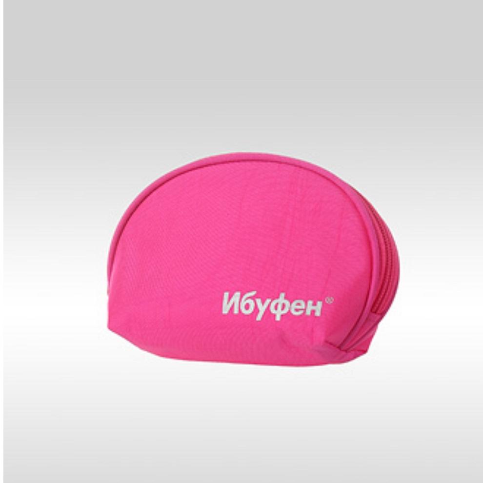 Фото розовой косметички с логотипом Ибуфен
