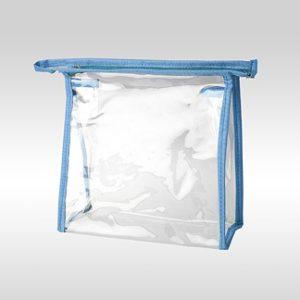 Прозрачная косметичка из пленки ПВХ голубая 13 x 13 x 6 см