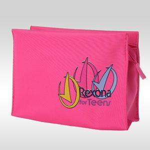 """Фотография розовой косметички из ткани """"микрофибра"""" с 4-х цветным логотипом Rexona Fro Teens"""