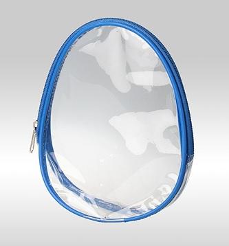 Косметичка овальная голубая с прозрачным дном