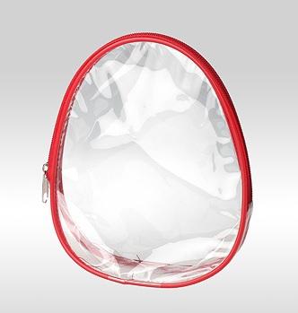 Косметичка овальная красная с прозрачным дном и сторонами (ПВХ)