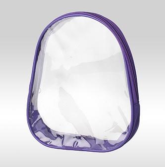 Косметичка овальная фиолетовая с кедером. Прозрачные стороны (ПВХ). Дно - ткань полиэстер
