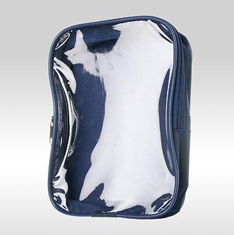 Косметичка-сумка с прозрачной фронтальной стороной из ПВХ синяя
