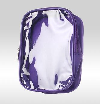 Фиолетовая сумка косметичка с прозрачной стороной из ПВХ